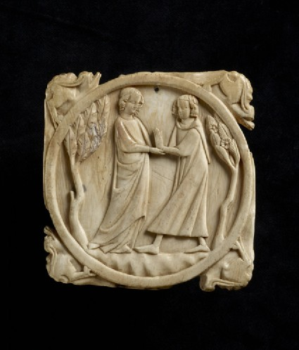 Mirror-case back with two lovers meeting