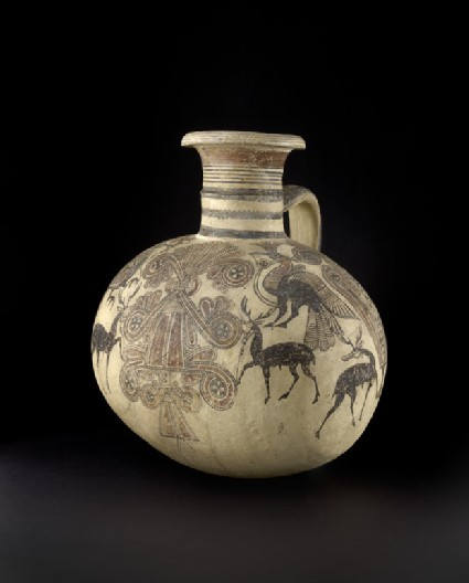 Bichrome IV barrel-shaped Cypro-Phoenician jug with sacred tree, stags, crested birds, and lotus flowers