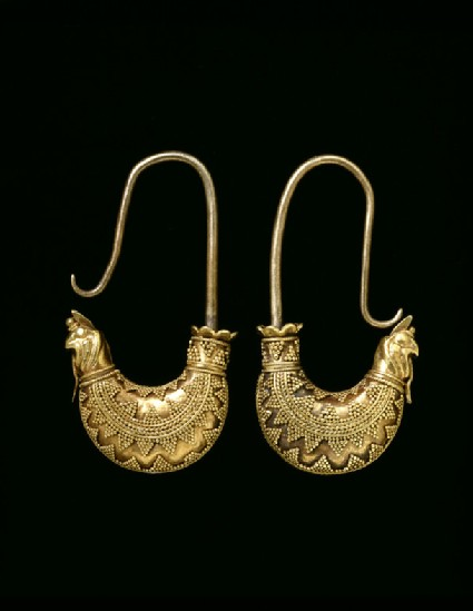 Pair of boat-shaped granulated gold earrings