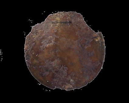 Bronze mirror disc with missing handle (probably wood, bone or ivory)