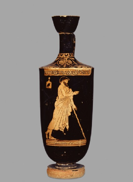 Attic red-figure pottery lekythos depicting a scene of daily life