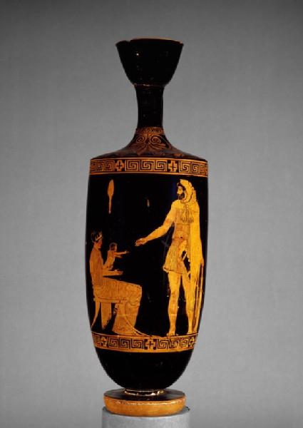 Attic red-figure pottery lekythos depicting a mythological scene