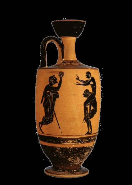 Attic black-figure pottery lekythos depicting an athletics scene