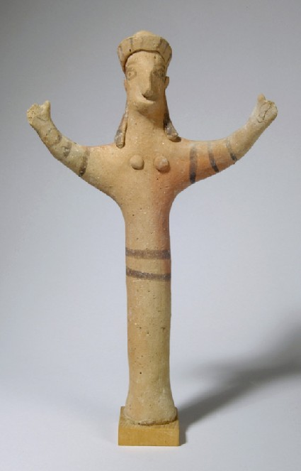Figurine of female with diadem and upraised arms