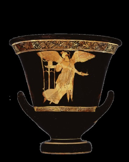 Attic red-figure pottery krater depicting a mythological scene