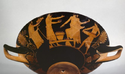 Attic red-figure stemmed pottery cup depicting sacrifices and an ostracism