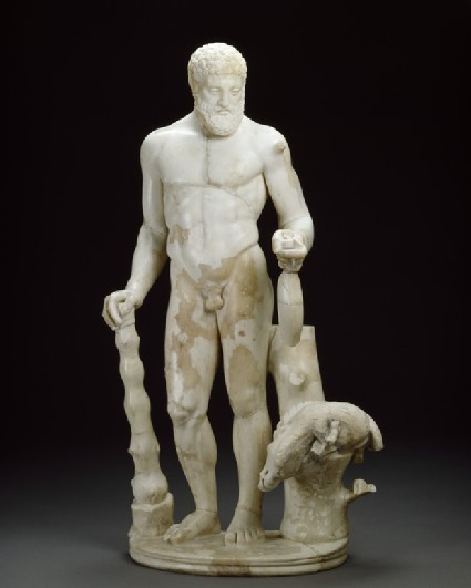 Marble statuette of Hercules and the Erymanthian boar
