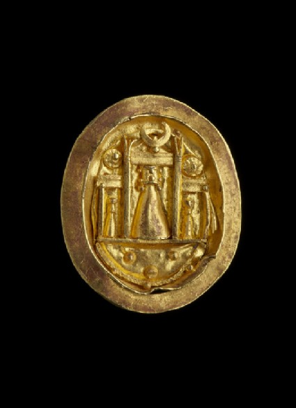 Gold finger ring with setting showing the shrine of Aphrodite at Paphos