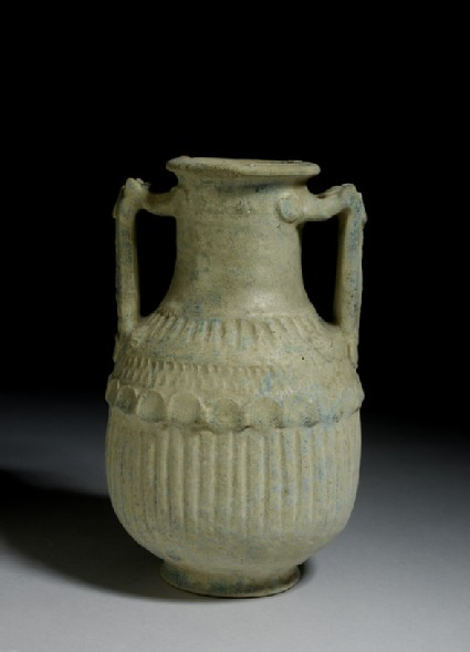 Blue-glazed ceramic amphora