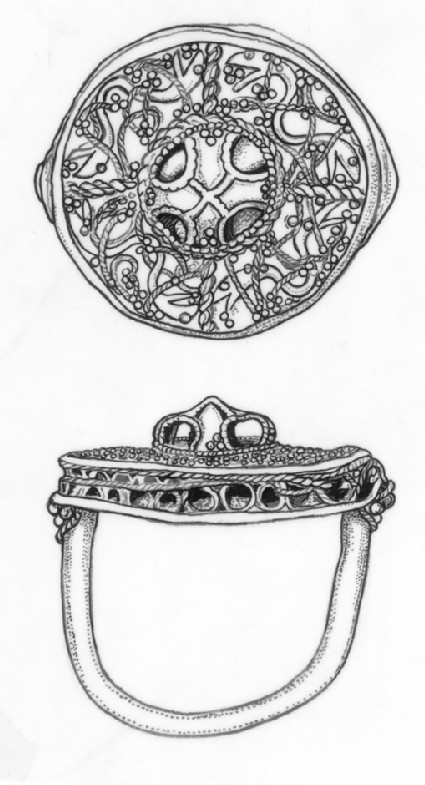 Finger-ring decorated with interlaced filigree ornament in very high relief