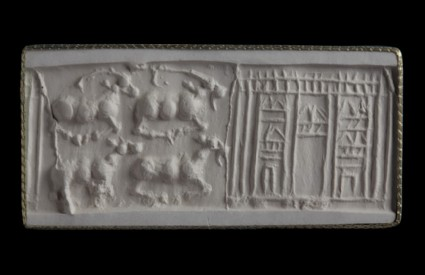 Cylinder seal depicting horned goats beside shrine, two horned goats above two hornless ones, all recumbent