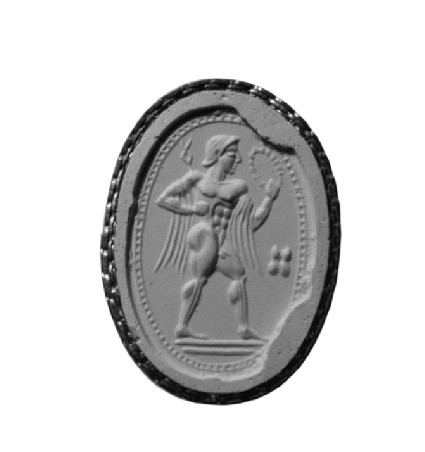 Scaraboid sealstone, Hermes with wreath, caduceous and atralagus