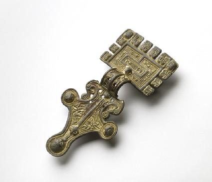 Gilt square headed brooch