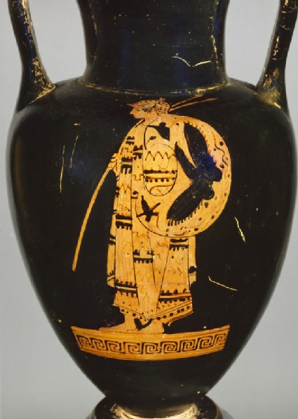 Attic red-figure pottery amphora depicting a Thracian warrior and a youth