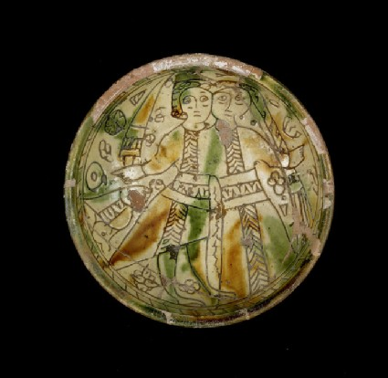 Sgraffito wedding bowl depicting a man with a sword an a woman, probably the married couple
