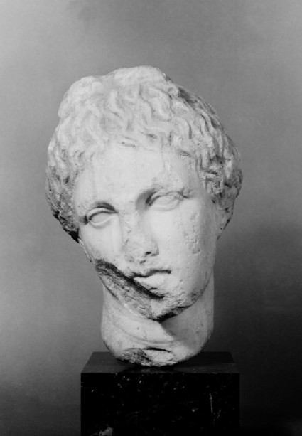 Pentelic marble head of a woman from Athenian grave stele