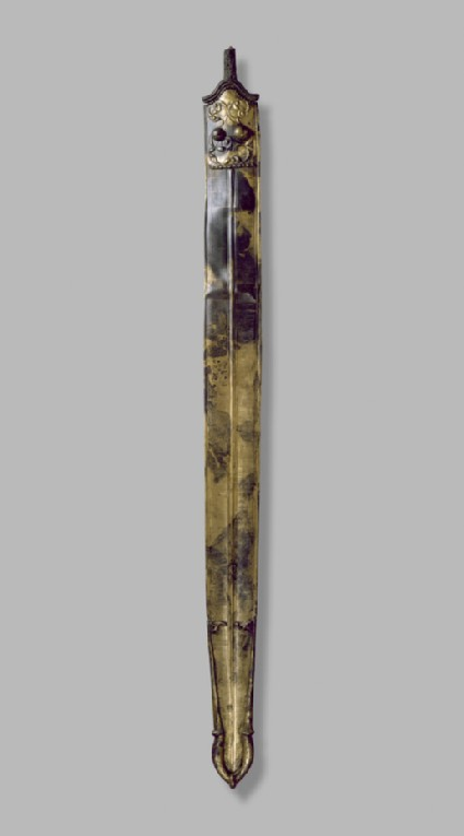 Iron sword corroded inside a decorated bronze scabbard (The Wittenham Sword)