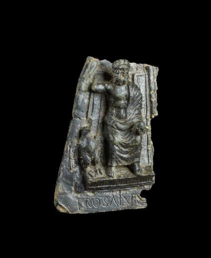 Part of a plaque with Latin inscription, Jupiter enthroned