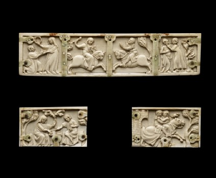 Three panels from a casket with romance scenes