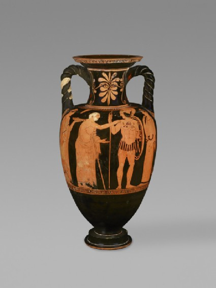 Attic red figure pottery amphora depicting a warrior taking leave