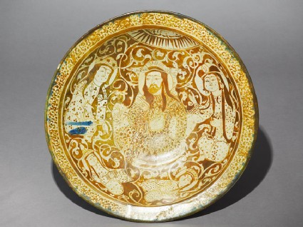 Dish with seated figure, a ruler or prince, and four women