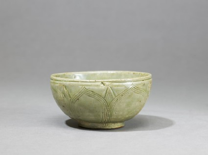 Greenware bowl with lotus petals