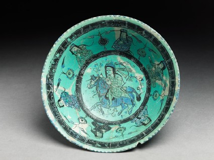 Bowl with horseman, female figures, and pseudo-kufic inscription