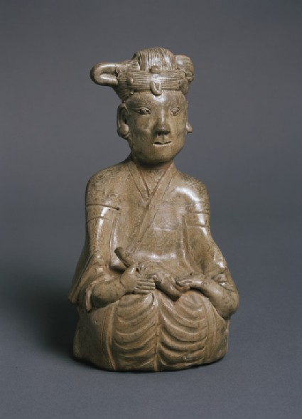 Greenware burial figure of woman and child