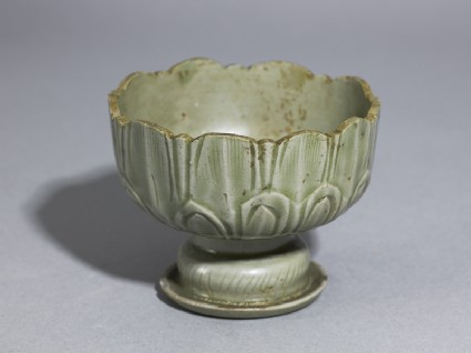 Greenware stem cup with lotus petals