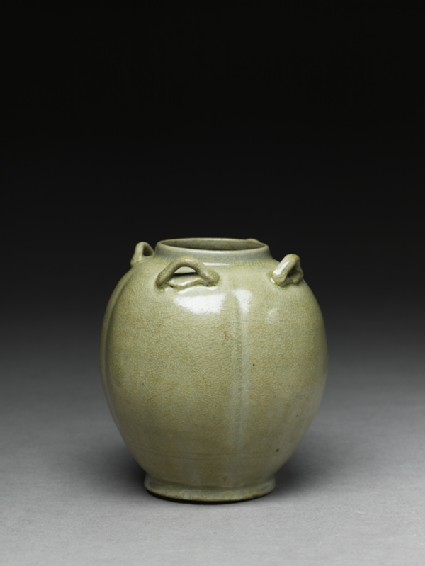 Greenware jar with four loop-handles