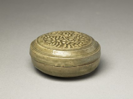Greenware circular box and lid with floral stem decoration