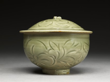 Greenware bowl with floral design