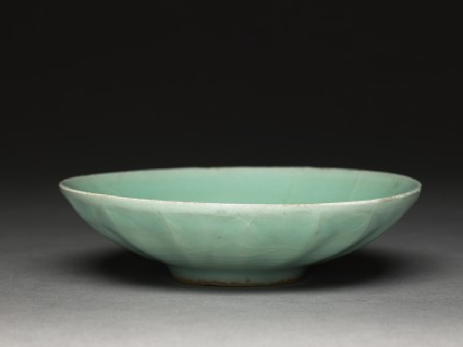 Shallow greenware dish with fluting