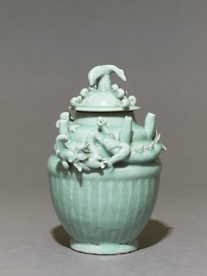 Greenware funerary jar with dragon