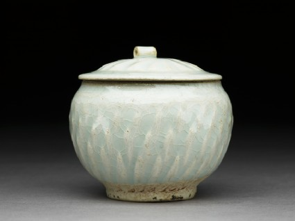 White ware jar with lotus leaf decoration