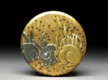 Kōgō, or incense box, with hare amid tokusa grass