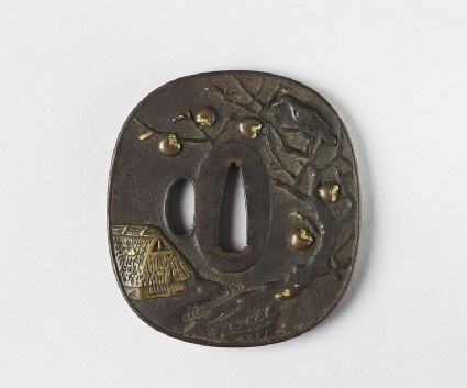 Rounded square tsuba with a farm house and a crow in a persimmon tree, and rice sheaves by a river and bridge on the reverse