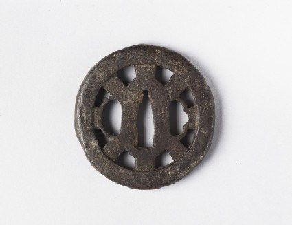 Round tsuba in the shape of a wheel