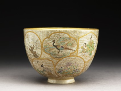 Satsuma tea bowl with animals, plants, and figures