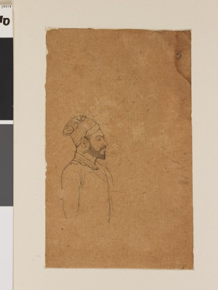 Bearded man with superimposed seated figure