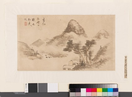 Summer mountains with two huts