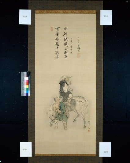 Naozane sitting on a horse after his conversion to Pure Land Buddhism