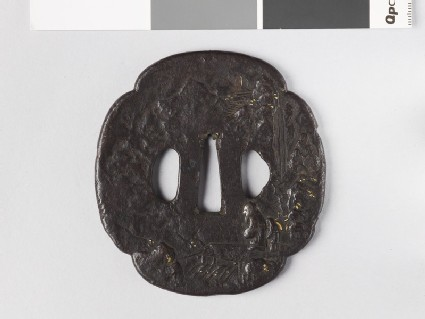 Mokkō-shaped tsuba with two Chinese sages crossing a bridge