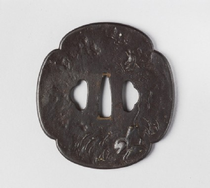 Mokkō-shaped tsuba with design of a toad