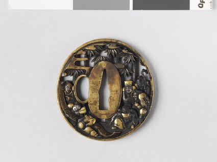Round tsuba with design of Seven Sages of the Bamboo Grove