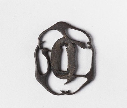 Irregular shaped tsuba with design of three geese in flight