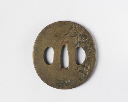 Round tsuba with design of a Sennin holding a toad and a peach