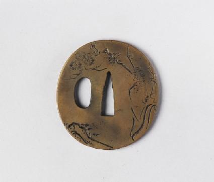 Round tsuba with design of Fukurokujin and a pine tree