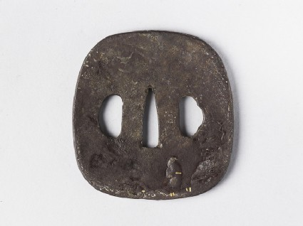 Round tsuba with design of a sage and landscape