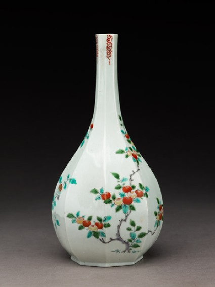 Octagonal bottle with tree peony and persimmon tree